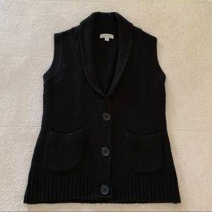 Merona Black Knit Button Up Sweater Vest Cardigan